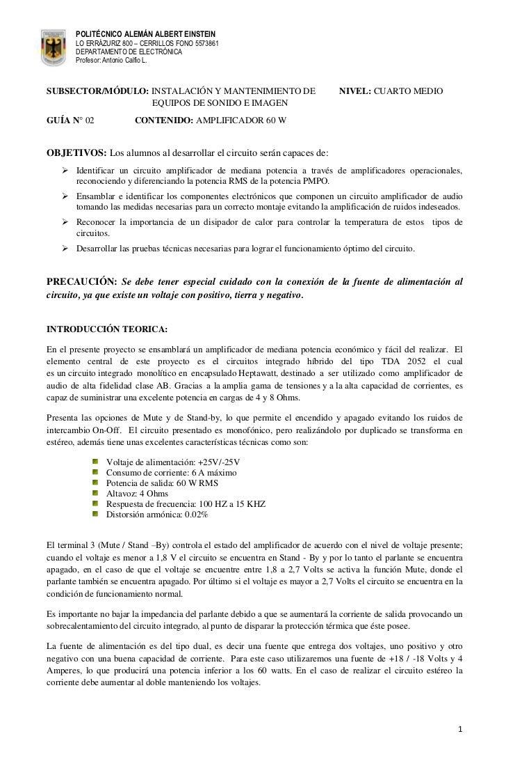 POLITÉCNICO ALEMÁN ALBERT EINSTEIN        LO ERRÁZURIZ 800 – CERRILLOS FONO 5573861        DEPARTAMENTO DE ELECTRÓNICA    ...