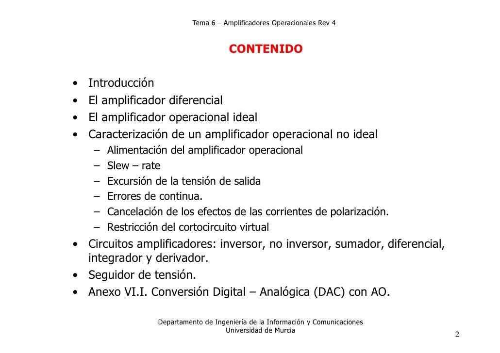 Tema 6 – Amplificadores Operacionales Rev 4                                         CONTENIDO•   Introducción•   El amplif...