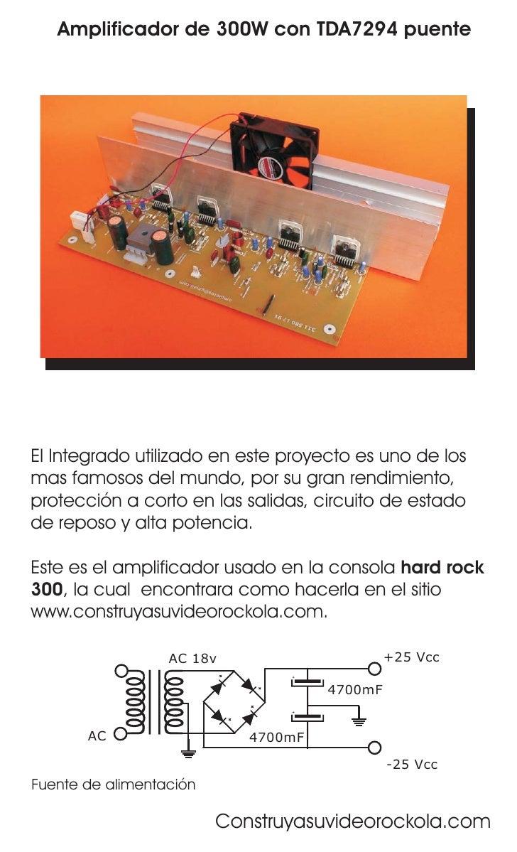 Amplificador de 300W con TDA7294 puente     El Integrado utilizado en este proyecto es uno de los mas famosos del mundo, p...