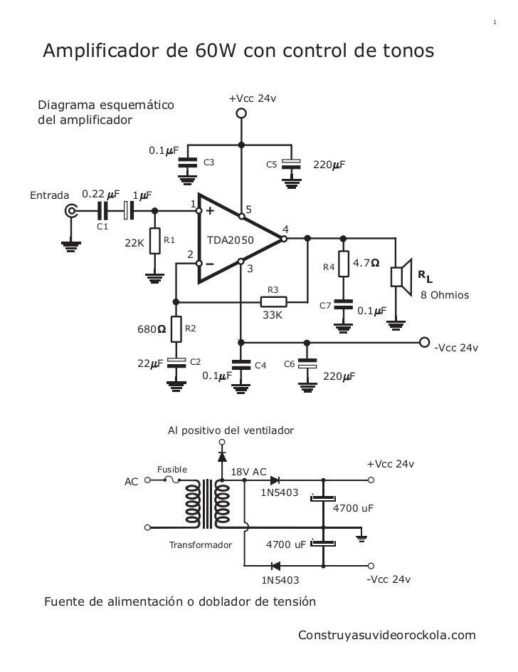 1  Amplificador de 60W con control de tonos                                              +Vcc 24v Diagrama esquemático del...