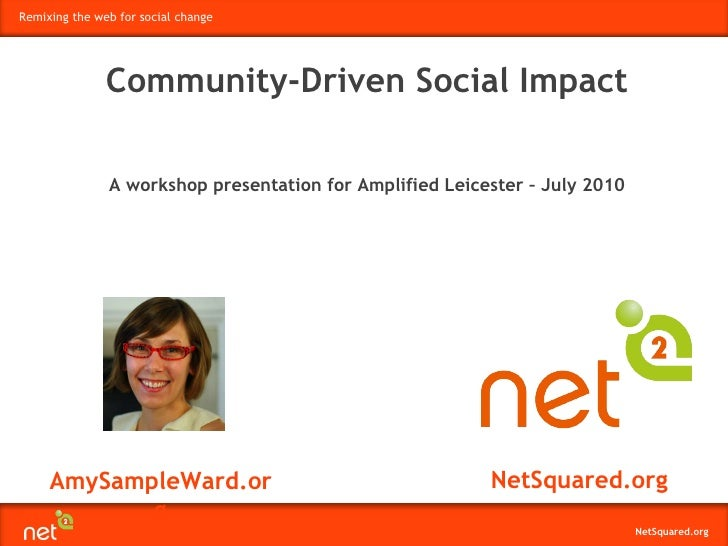 AmySampleWard.org NetSquared.org Community-Driven Social Impact A workshop presentation for Amplified Leicester – July 2010