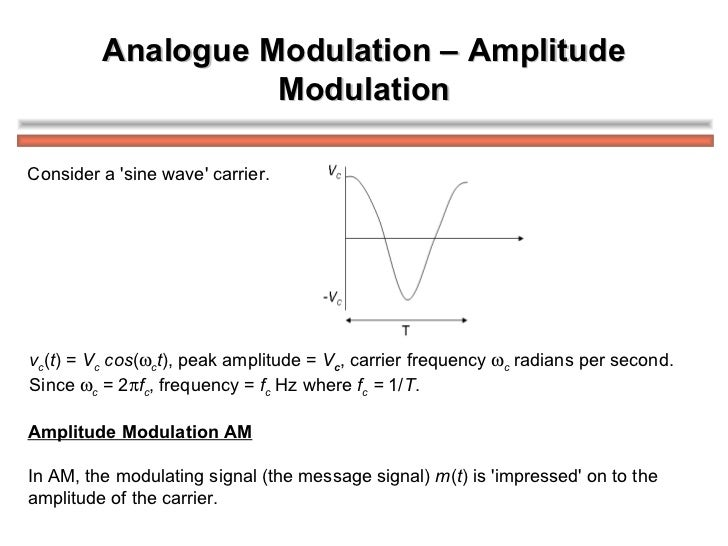 Analogue Modulation – Amplitude Modulation v c ( t ) =  V c  cos (  c t ), peak amplitude =  V c , carrier frequency   c...