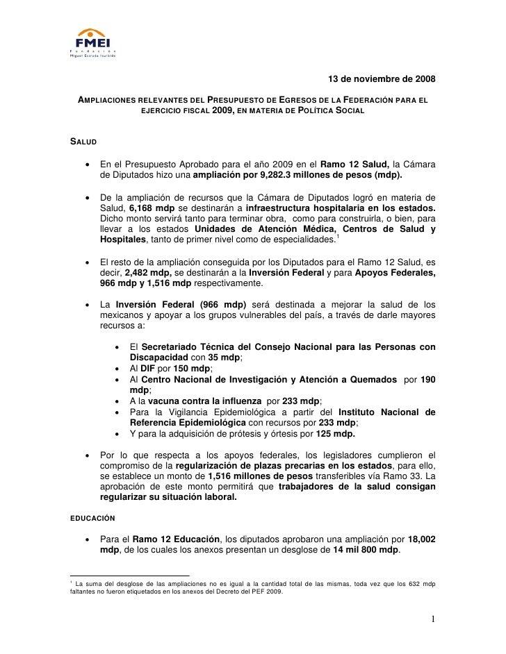 13 de noviembre de 2008      AMPLIACIONES RELEVANTES DEL PRESUPUESTO DE EGRESOS DE LA FEDERACIÓN PARA EL                  ...