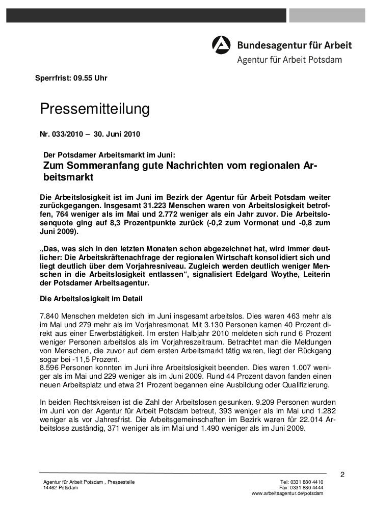 Sperrfrist: 09.55 Uhr Pressemitteilung Nr. 033/2010 – 30. Juni 2010  Der Potsdamer Arbeitsmarkt im Juni:  Zum Sommeranfang...