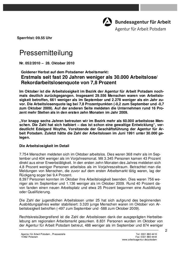Sperrfrist: 09.55 Uhr Pressemitteilung Nr. 052/2010 – 28. Oktober 2010  Goldener Herbst auf dem Potsdamer Arbeitsmarkt:  E...