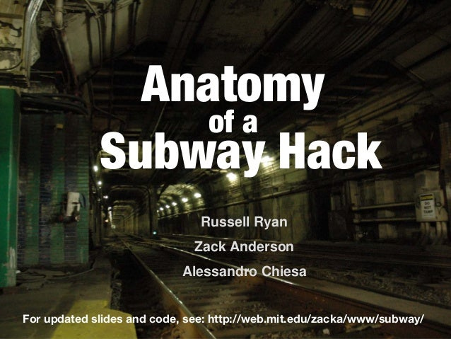 Anatomy Russell Ryan Zack Anderson Alessandro Chiesa Subway Hack of a For updated slides and code, see: http://web.mit.edu...