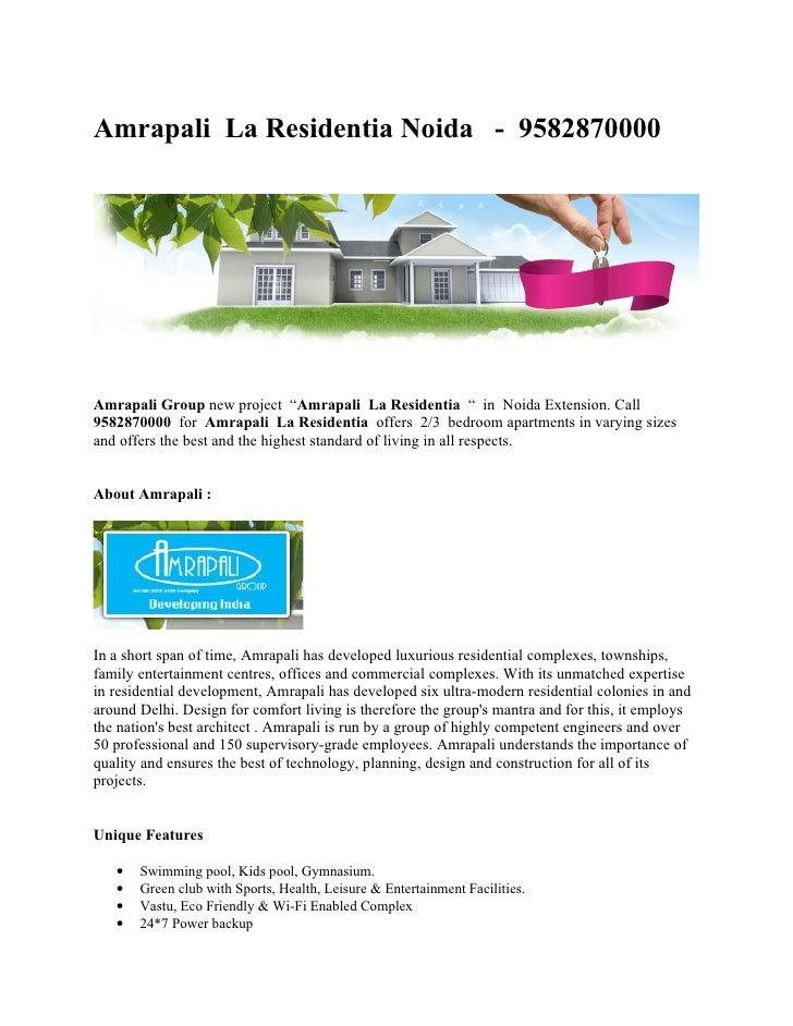 """Amrapali La Residentia Noida - 9582870000     Amrapali Group new project """"Amrapali La Residentia """" in Noida Extension. Cal..."""