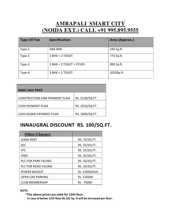 AMRAPALI SMART CITY                    (NOIDA EXT.) CALL +91 995.895.9555  Type Of Flat            Specification          ...