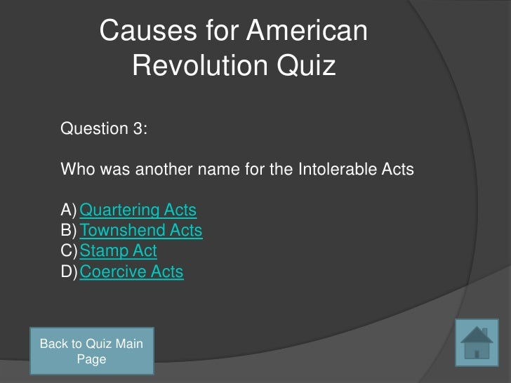 Cause of the american revolution essay