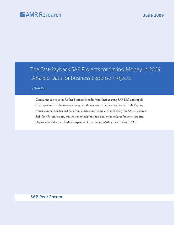 June 2009     The Fast-Payback SAP Projects for Saving Money in 2009: Detailed Data for Business Expense Projects by Derek...