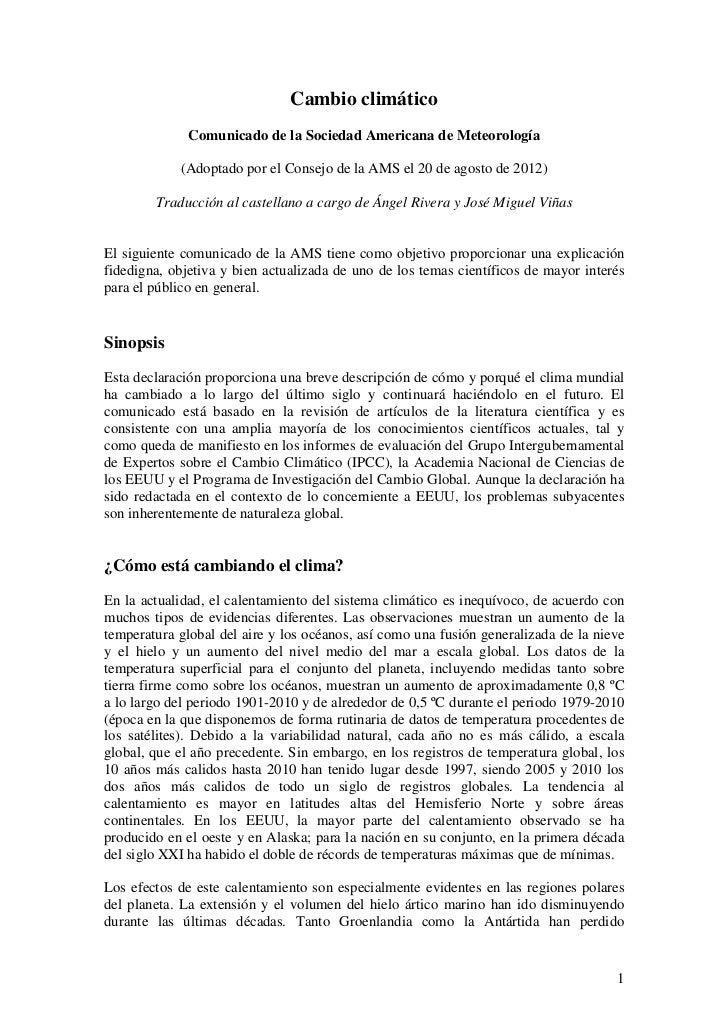Cambio climático              Comunicado de la Sociedad Americana de Meteorología            (Adoptado por el Consejo de l...