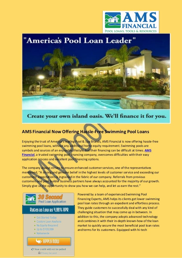 Swimming Pool Loans With No Equity Cooking With The Pros