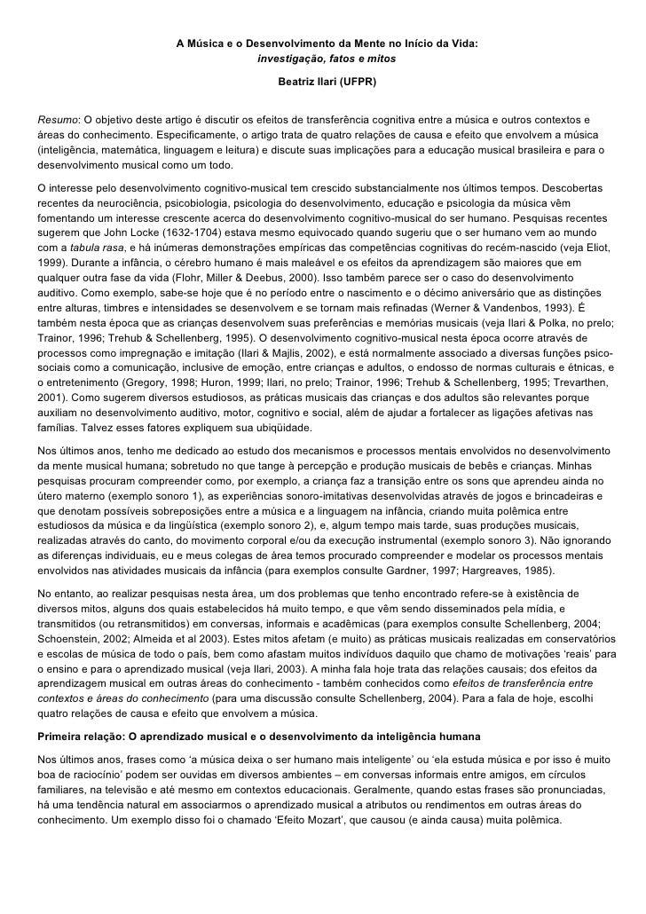 A MúSica E O Desenvolvimento Da Mente No IníCio Da Vid1