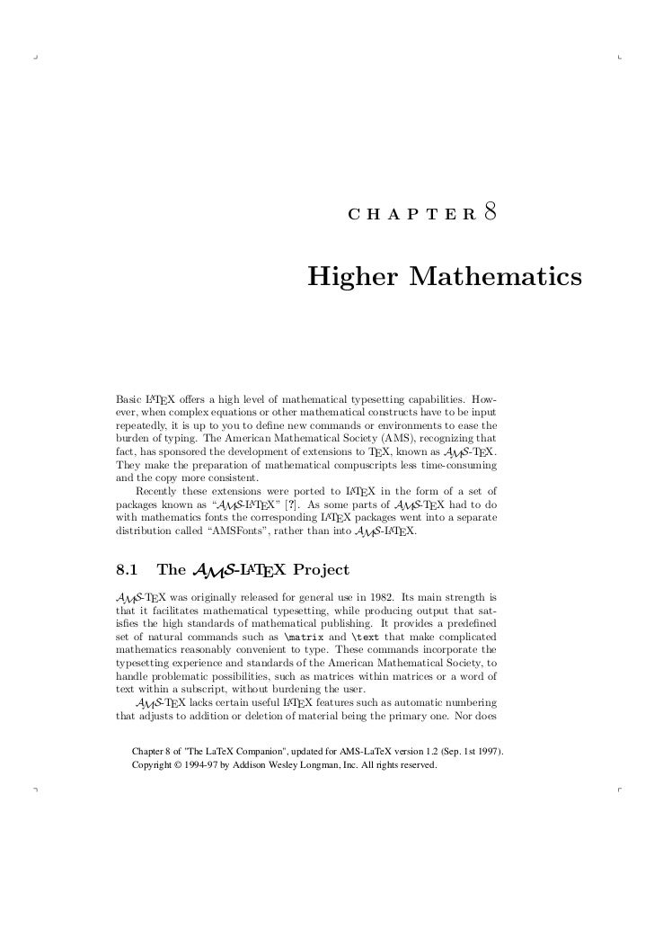 C H A P T E R                   8                                           Higher Mathematics        ABasic L TEX offers a...