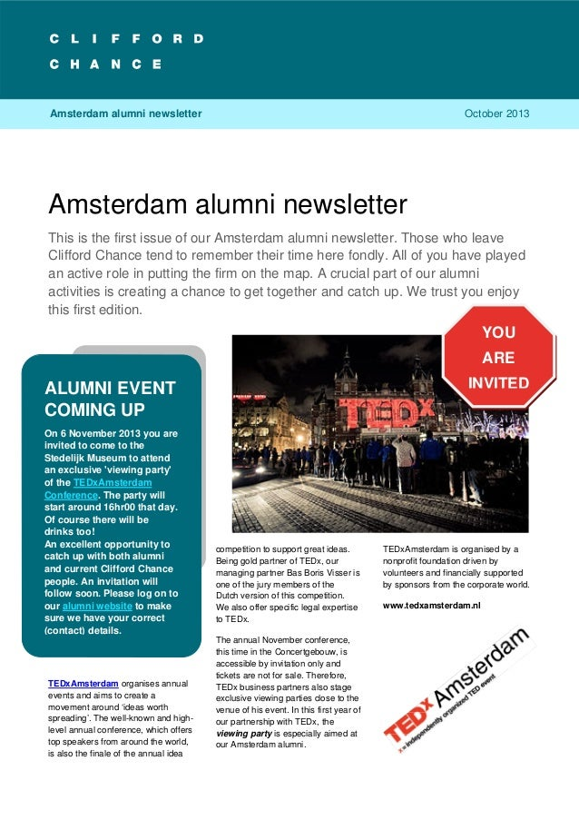 Amsterdam alumni newsletter 1 Amsterdam alumni newsletter This is the first issue of our Amsterdam alumni newsletter. Thos...