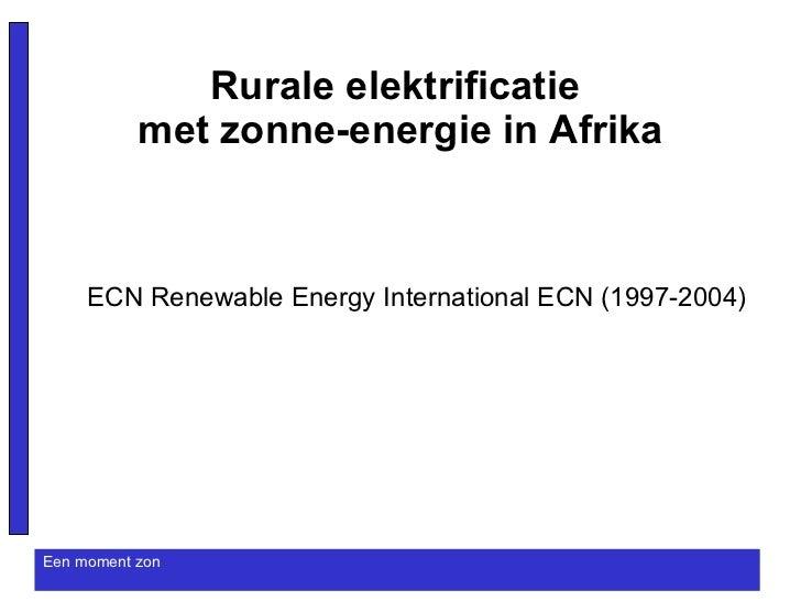 Rurale elektrificatie met zonne-energie in Afrika