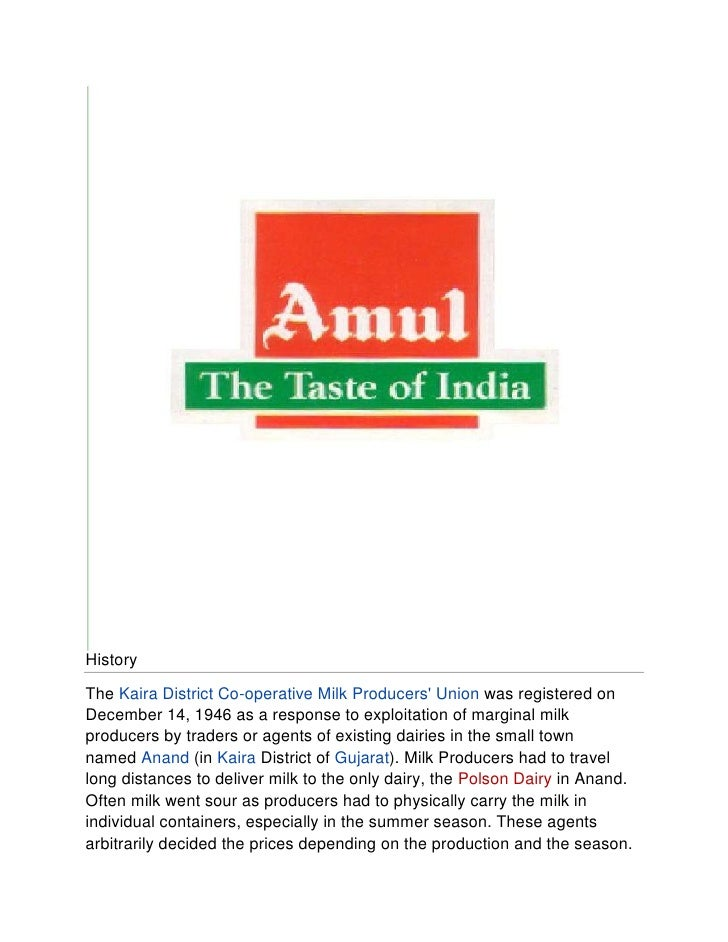 amul final paper Amul final project report  the study was conducted at amul india ltd, gondia district the retailer's preference was studied through using questionnaire.