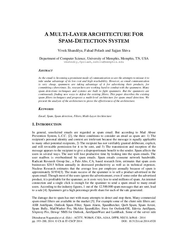 A multi layer architecture for spam-detection system