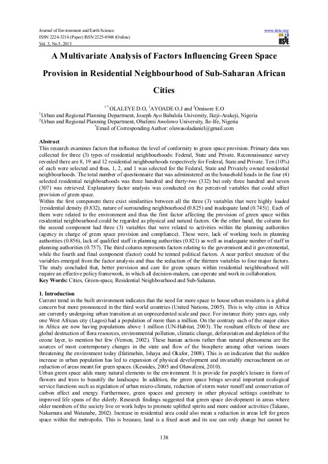 A multivariate analysis of factors influencing green space provision in residential neighbourhood of sub saharan african cities