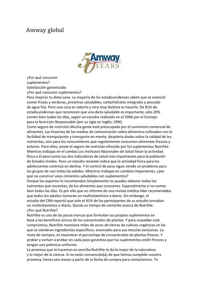 Amway global     ¿Por qué consumir suplementos? Satisfacción garantizada ¿Por qué consumir suplementos? Para mejorar tu di...