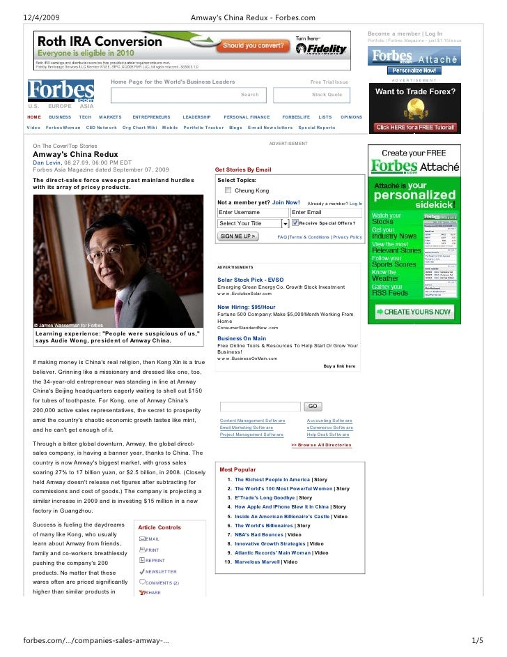 12/4/2009                                                           Amway's China Redux - Forbes.com                      ...