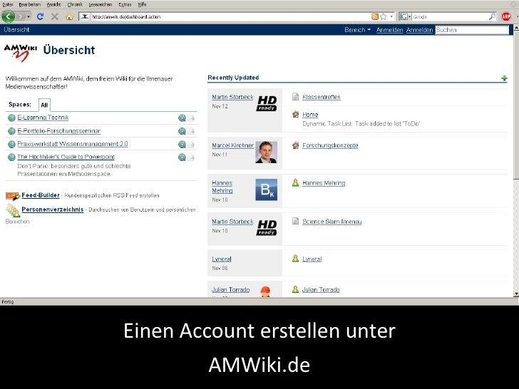 Einen Account erstellen unter AMWiki.de