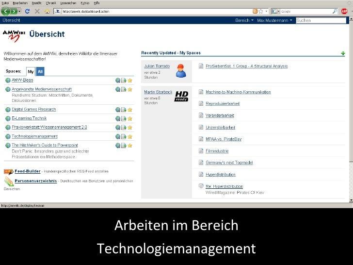 Arbeiten im Bereich Technologiemanagement