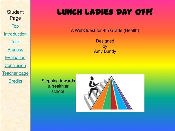 Student             Lunch Ladies Day Off!   Page    Top                            A WebQuest for 4th Grade (Health)Introd...