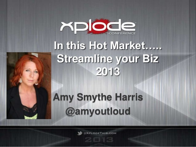 In this Hot Market….. Streamline your Biz         2013Amy Smythe Harris  @amyoutloud
