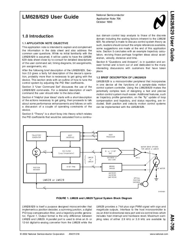 LM628/629 User Guide 1.0 Introduction 1.1 APPLICATION NOTE OBJECTIVE This application note is intended to explain and comp...