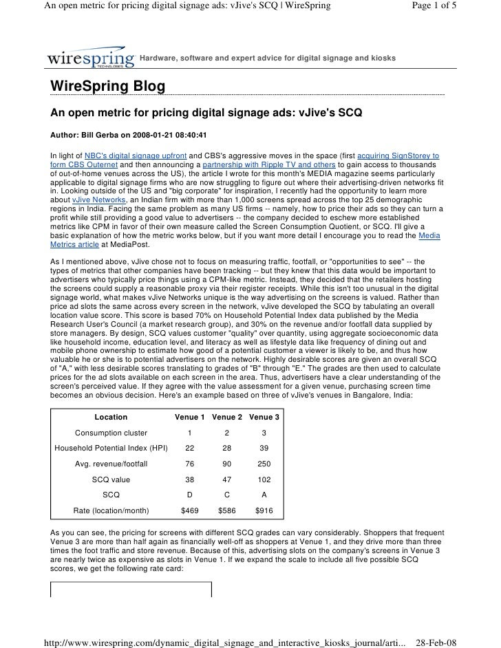 An open metric for pricing digital signage ads: vJive's SCQ | WireSpring                                    Page 1 of 5   ...