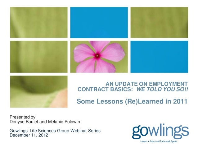 An Update on Employment Contract Basics: We Told You So!!!