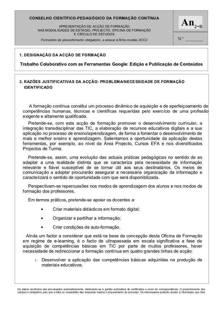 CONSELHO CIENTÍFICO-PEDAGÓGICO DA FORMAÇÃO CONTÍNUA                          APRESENTAÇÃO DE ACÇÃO DE FORMAÇÃO            ...