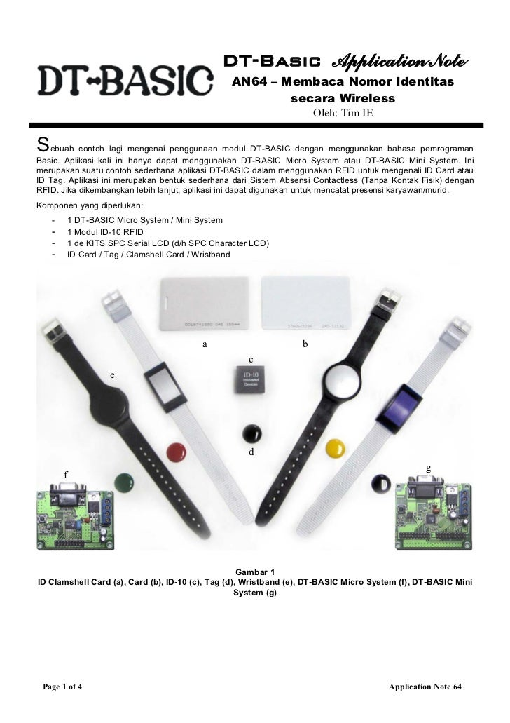 Penggunaan DT-Basic Untuk Membaca Nomor Identitas Secara Wireless
