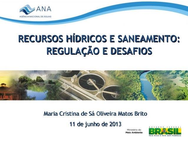 Recursos Hídricos e Saneamento: Regulação e Desafios