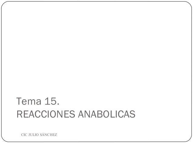 Tema 15. REACCIONES ANABOLICAS CIC JULIO SÁNCHEZ
