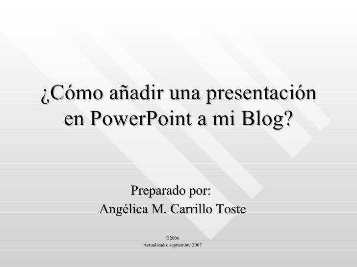 Anadir Presentacion Al Blog