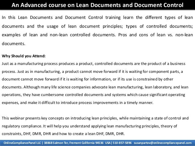 An advanced course on lean documents and document control for Documents control course