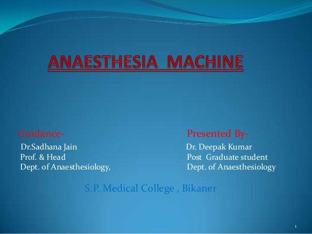 Guidance-  Presented By-  Dr.Sadhana Jain Prof. & Head Dept. of Anaesthesiology,  Dr. Deepak Kumar Post Graduate student D...