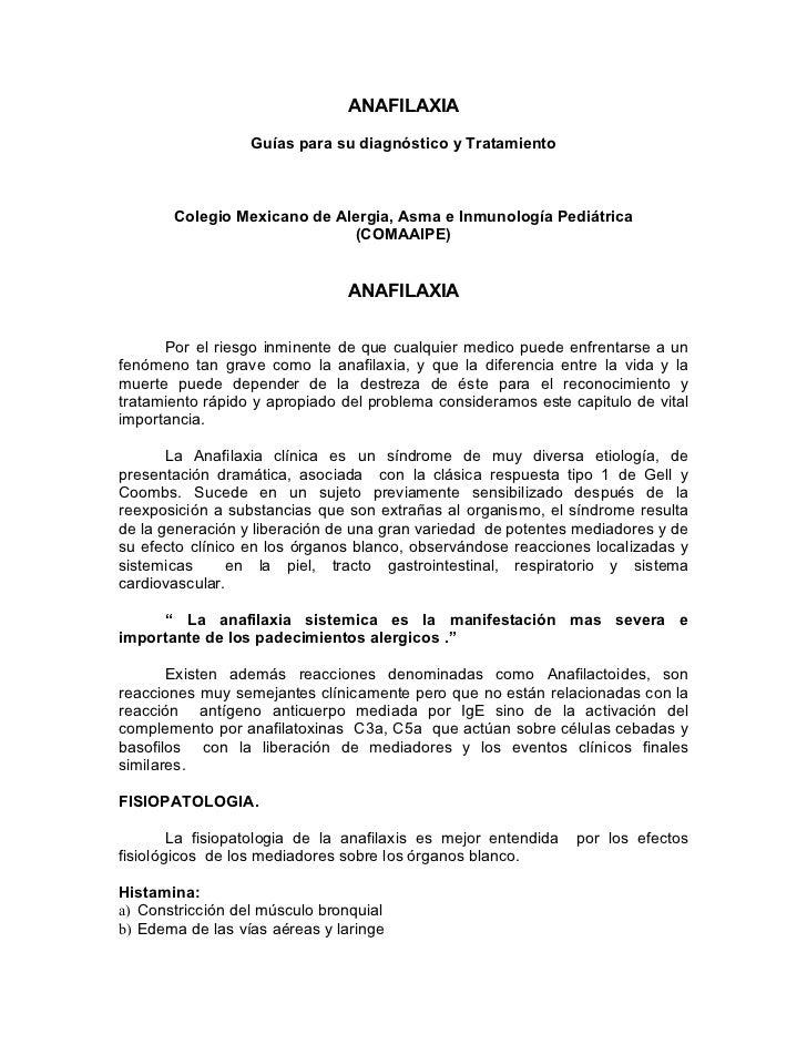 ANAFILAXIA                  Guías para su diagnóstico y Tratamiento       Colegio Mexicano de Alergia, Asma e Inmunología ...
