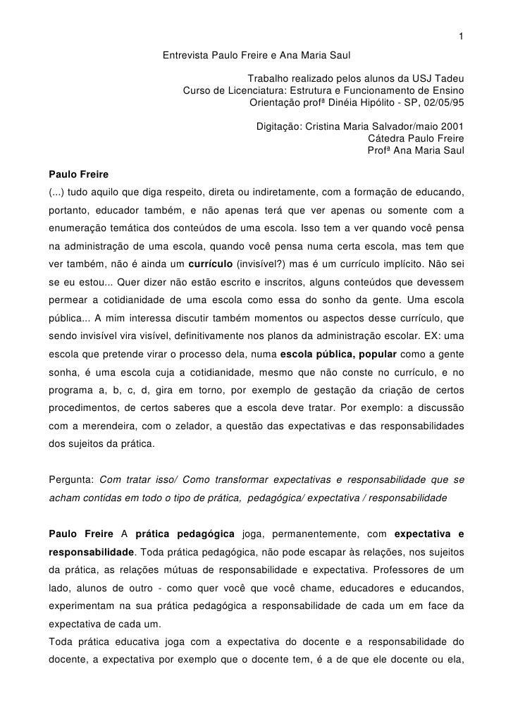 1                            Entrevista Paulo Freire e Ana Maria Saul                                              Trabalh...