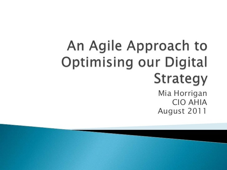 An agile approach to optimising our digital strategy v3