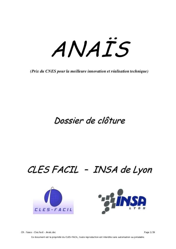 ANAÏS         (Prix du CNES pour la meilleure innovation et réalisation technique)                                Dossier ...