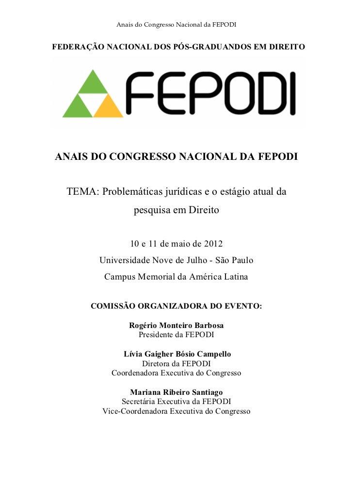 Anais do Congresso da FEPODI