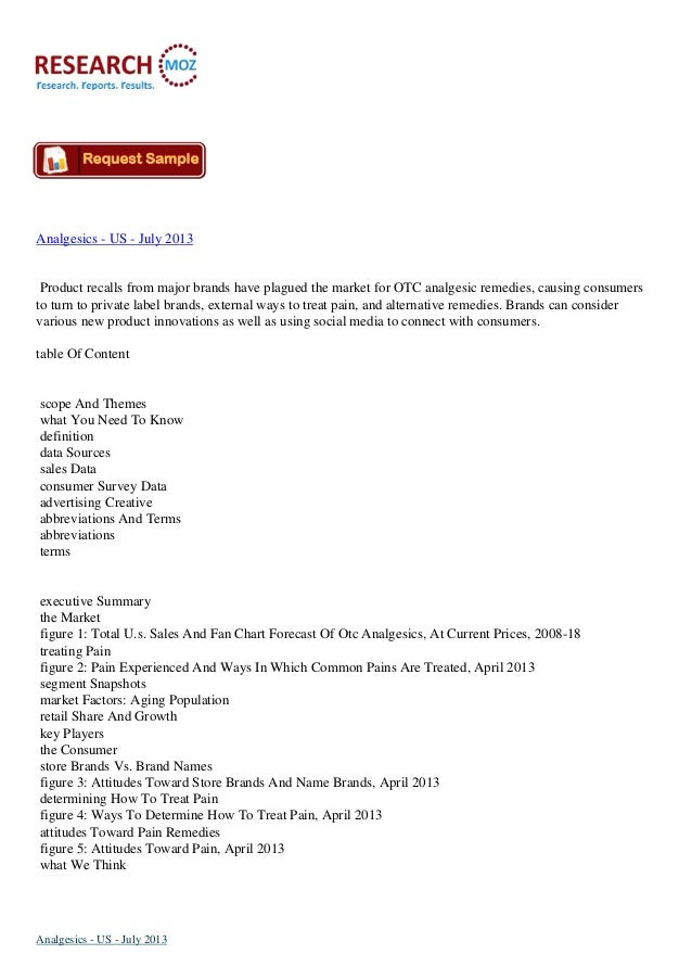 Analgesics   US - July 2013