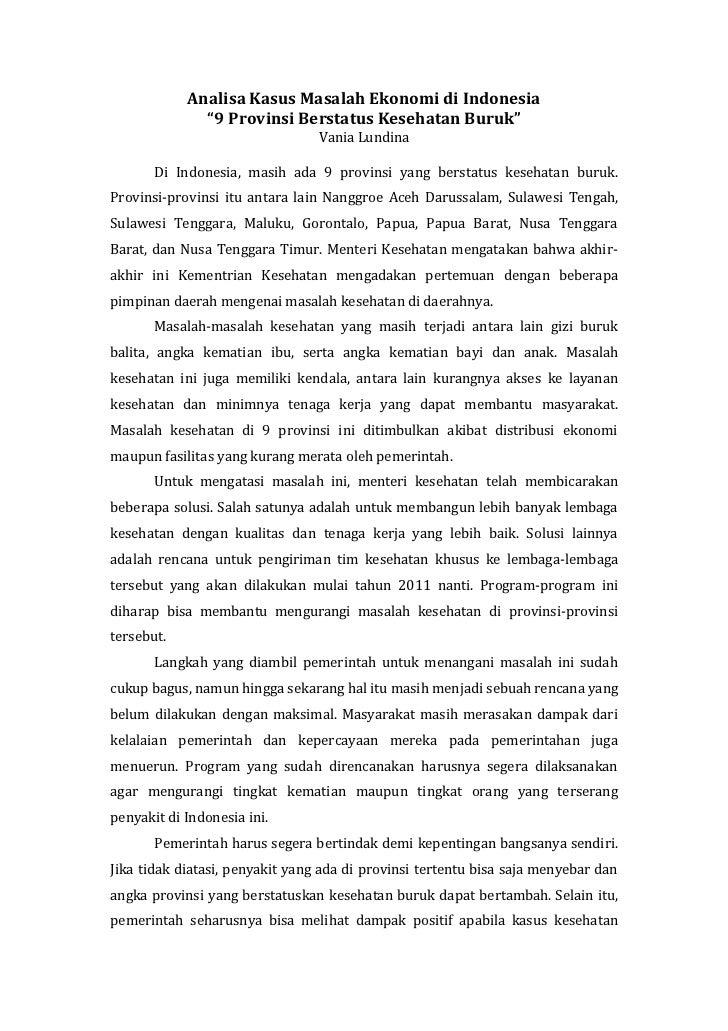 Analisa kasus masalah ekonomi di indonesia