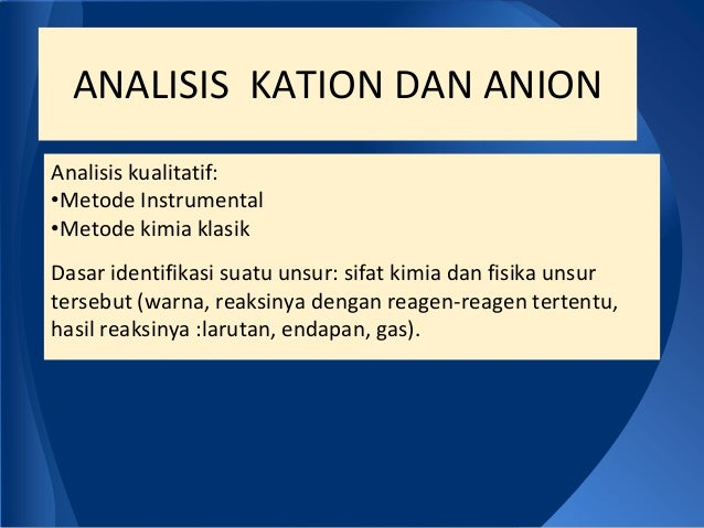 Analisa kation dan anion