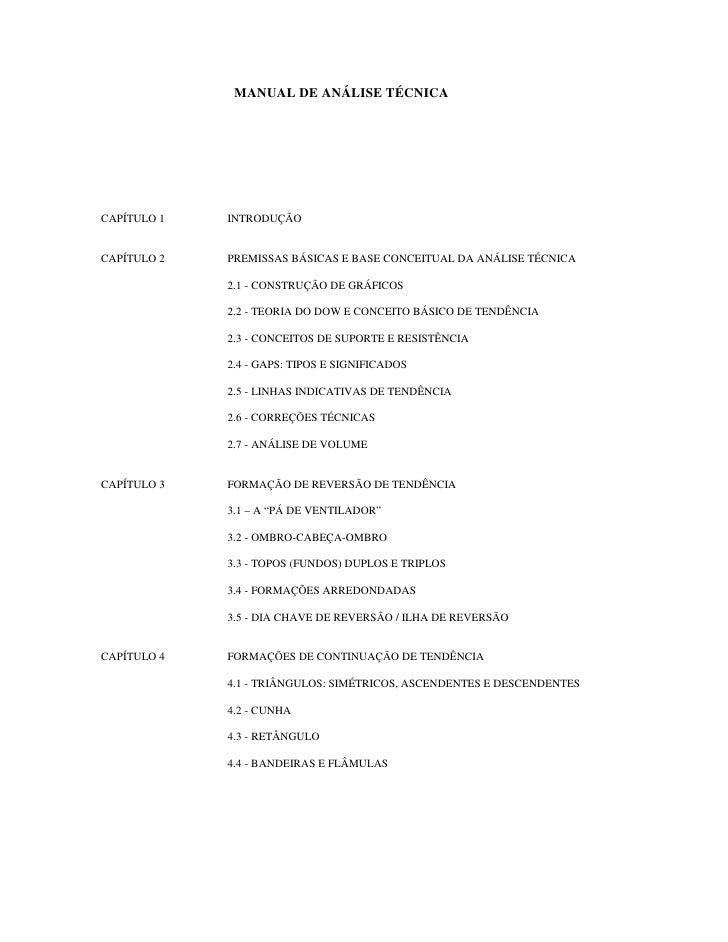 MANUAL DE ANÁLISE TÉCNICACAPÍTULO 1   INTRODUÇÃOCAPÍTULO 2   PREMISSAS BÁSICAS E BASE CONCEITUAL DA ANÁLISE TÉCNICA       ...