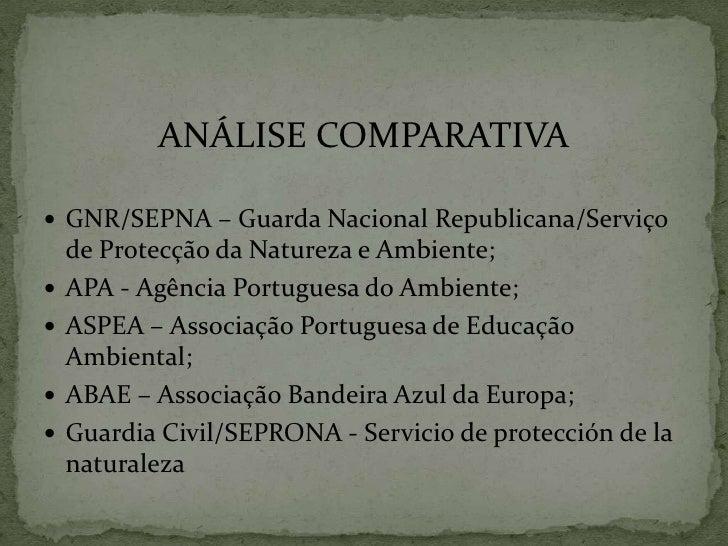 ANÁLISE COMPARATIVA<br />GNR/SEPNA – Guarda Nacional Republicana/Serviço de Protecção da Natureza e Ambiente;<br />APA - A...