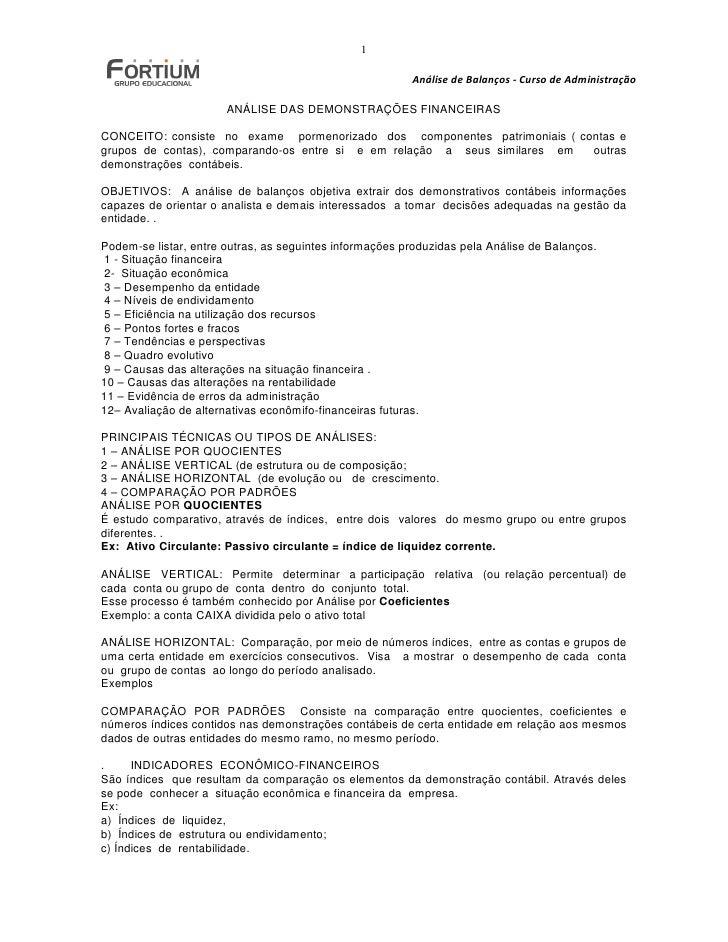 1                                                           Análise de Balanços - Curso de Administração                  ...